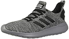 Two tone stretch mesh upper with sock like construction Seamless 3 Stripes, Comfortable textile lining adidas Cloudfoam tongue label, adidas wordmark on heel strap, Webbing heel pull with 3 Stripes detail TPU heel counter