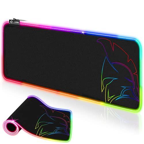 EMPIRE GAMING-Tapis de Souris Gamer Dark Rainbow-RGB LED 12 Mode d'Eclairage–Mouse Pad Rétroéclairage-Hydrorésistant-Caoutchouc Antidérapant-pour Joueurs PC, Mac et Ordinateur Portable-800x300x4mm