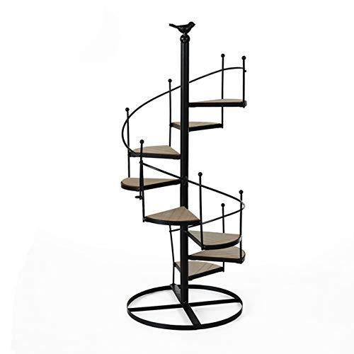 XYJNN Maceteros-macetas Balcon Soporte De Planta De Metal | Soporte De Maceta De Madera | Multicapa Giratoria | Apto para Familia | Jardín (Color : Black)