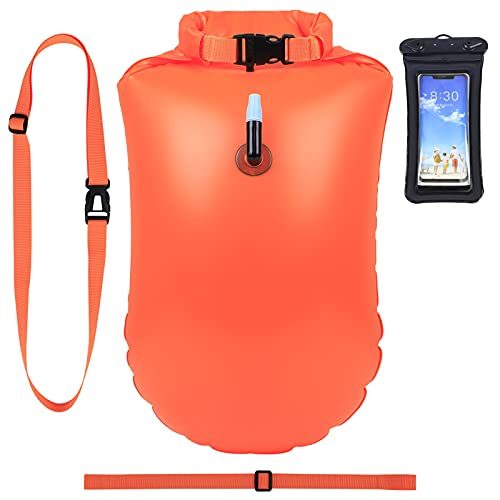 Schwimmboje 20L mit Dry Bag Schwimmhilfe Triathleten Baywatch Auftriebshilfe kostenlose Handyhülle,Sicherheit Schwimmbojen Swim Bubble Rettungsring für Open-Water Schwimmer Surfer Schnorchler