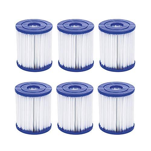 YAOL Pool-Filterkartusche für Bestway Typ I,aufblasbarer Pool-Filter, einfache Installation, Filterkartusche, Ersatz, für Rohrreinigung. (6PCS)