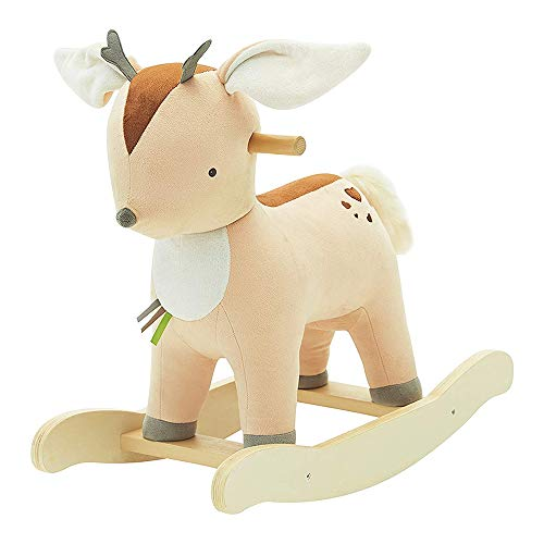 BAIDEFENG Baby Rocking Horse, Kid Wooden Rocker Ride Toy Rocking Animal Child Yellow Deer Rocking Horse Infant Plush Rocker Chair