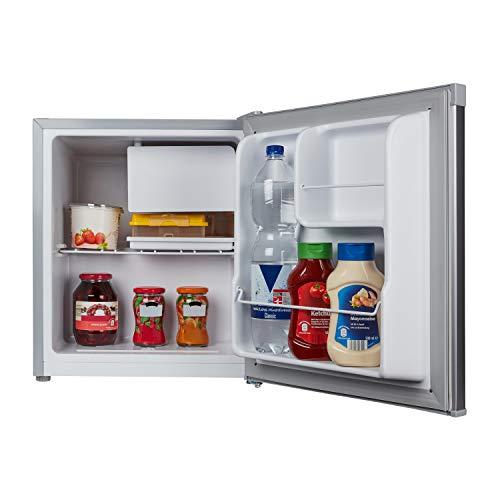 MEDION mini Kühlschrank (mit Gefrierfach, 46 Liter Nutzinhalt, höhenverstellbare Füße, für Getränke Speisen Eis, wechselbarer Türanschlag, MD37136)