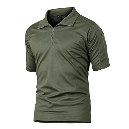 Camisa de Combate para Hombres Caza táctica Militar Polo de Manga Corta Held Airsoft Camuflaje Camiseta Uniforme táctico Ropa Deportes al Aire Libre para Multicam Verde Large