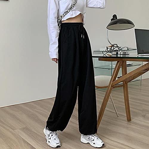 KUNHAN Pantalones de chándal Grises para Mujer, sobredimensionados, Holgados, Deporte, Streetwear, Nueva colección de otoño-B_S