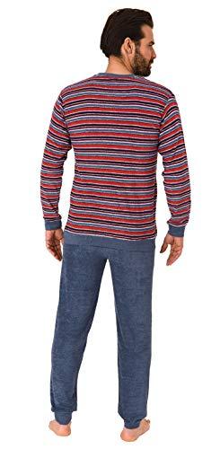 Herren Frottee Pyjama, Schlafanzug mit Bündchen - in toller Streifenoptik - 291 101 13 003, Größe2:50, Farbe:Jeans-Melange