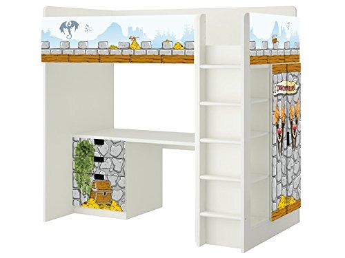 Ritterburg Aufkleber - SH08 - passend für die Kinderzimmer Hochbett-Kombination STUVA von IKEA - Bestehend aus Hochbett, Kommode (3 Fächer), Kleiderschrank und Schreibtisch - Möbel Nicht Inklusive | STIKKIPIX