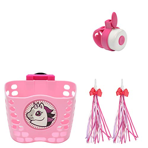 Little World Kid's Scooter Basket, Front Handlebar Scooter Accessories with 1 Pair Streamers and Bike Bell for Girls and Boys, Pink