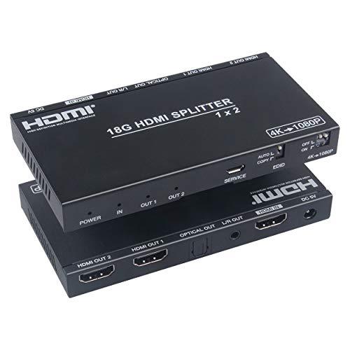 HDMI Splitter, 1 in 2 Out Verteiler mit 3,5 mm Audio Unterstützung HD 4K @ 60Hz Y: U: V: 4: 4: 4 Für PS4 Xbox Sky Box Fire Stick, DVD Player HDTV Projektor etc