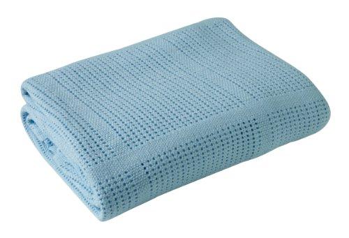 Clair de Lune deken voor kinderwagen en reizen, extra zacht geborsteld katoen, blauw