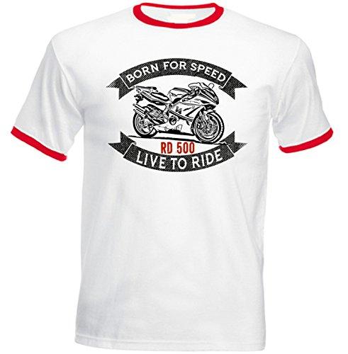TEESANDENGINES Men's Yamaha RD 500 Red Ringer T-Shirt Size XXLarge