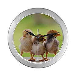 Classic Wall Clock Young Yellow Baby Chicks Universal Round Wall Clock 9.65 Inch Silver Quartz Frame Decor for Office/School/Kitchen/Living Room/Bedroom