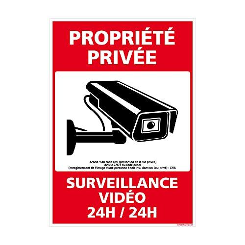 Adhésif - Propriété Privée sous Vidéo Surveillance 24h 24h - Dimensions 150 x 210 mm - Protection Anti-UV