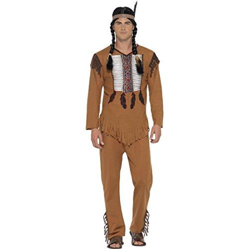Traje Americano Nativo - S (ES 44/46) | Disfraz Indio Hombre | Traje Carnaval Cacique | Disfraz Jefe de Tribu