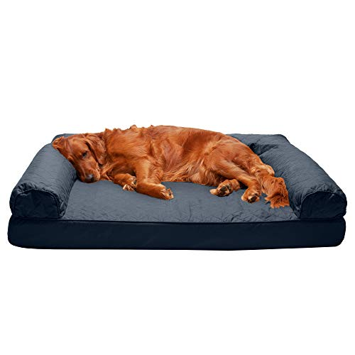 Furhaven Pet Dog Bed - Orthopedic Quilted Traditional Sofa-Style Living Room Couch Pet Bed with Removable Cover for Dogs and Cats, Iron Gray, Jumbo