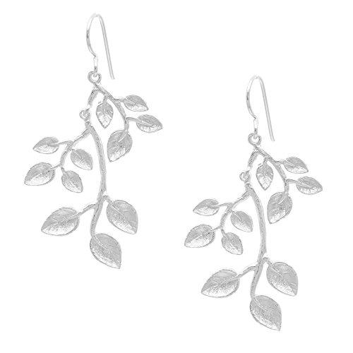 Silverly Oorbellen voor dames, 925 sterling zilver, satijn, tak, bladeren, plant, bladeren