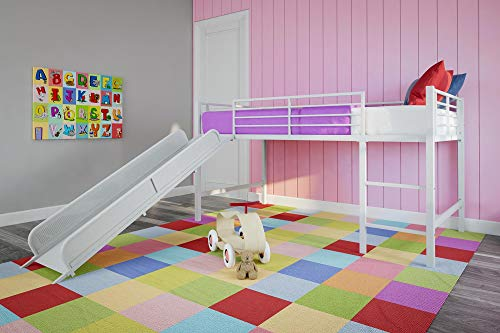 DHP Junior Twin Metal Loft Bed with Slide, Multifunctional Design, White with...