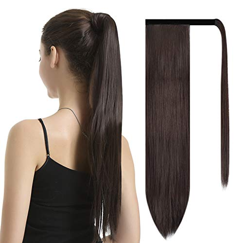 """BARSDAR 26"""" Long Straight Wrap Around Synthetic Ponytail Clip in Hair Extensions One Piece Hairpiece Binding Pony Tail Extension for Women Lady Girl - Dark Brown"""