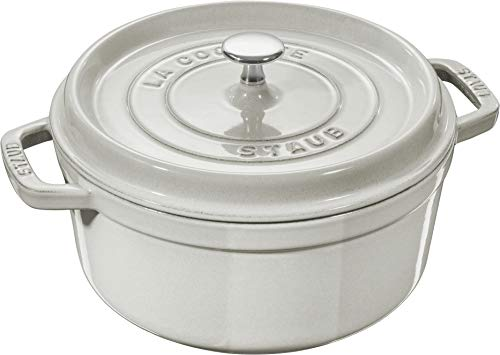 Staub Cast Iron 5.5-qt Round Cocotte - White Truffle