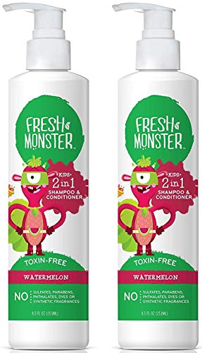 Fresh Monster Toxin-free Hypoallergenic 2-in-1 Kids Shampoo & Conditioner, Watermelon (2 Pack, 8.5oz/each)