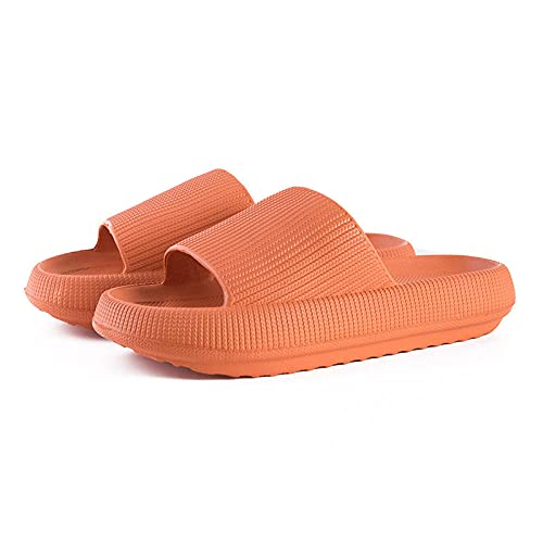 QPPQ Zapatillas de baño junto a la piscina, zapatillas antideslizantes de baño, sandalias cómodas para el hogar - Orange_9/9.5, Zapatillas de baño para interiores y exteriores