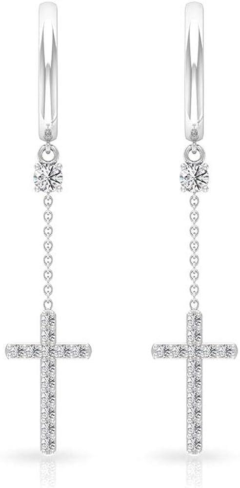 0.33 Carat Pave Outlet ☆ Free San Jose Mall Shipping Certified Diamond Uniqu Drop Hoop Cross Earring