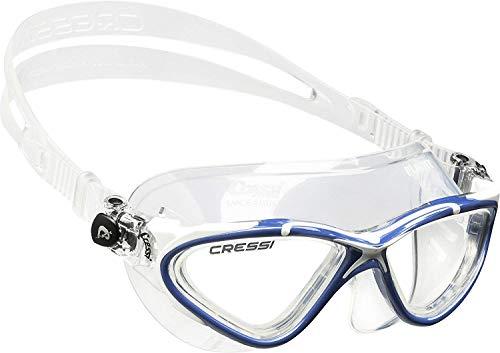 Cressi Planet Occhialini Premium per Nuoto, Piscina, Triathlon e Sport Acquatici, Trasparente/Blu Bianco