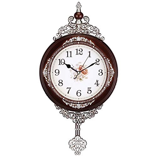 Jixi Reloj de Pared Pastoral Europea Antiguo Mudo Sala de Estar Estudio Estudio Reloj de Pared de Moda Reloj de péndulo de Cuarzo (Color : A)