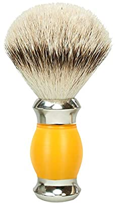 Golddachs Shaving Brush 100% Silver Tip Yellow/Silver