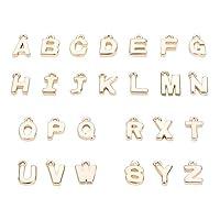 26個 ゴールド 真鍮製 アルファベット チャーム ローマ字 英字 A~Z ペンダント 18金メッキ アクセサリーパーツ ジュエリー用 DIY ハンドメイド 手芸材料 手作り素材 クラフト用品 10〜14.5x4〜14x1mm