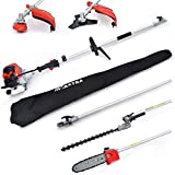 MAXTRA 42.7cc 2-Cycle Multifunctional 4 in 1 Cordless Garden Tree Trimming Set 8.2 to 11.4 Foot Extendable Gas Hedge String Trimmer Pole Saw Brush Cutter Tool Kits with Carry Bag