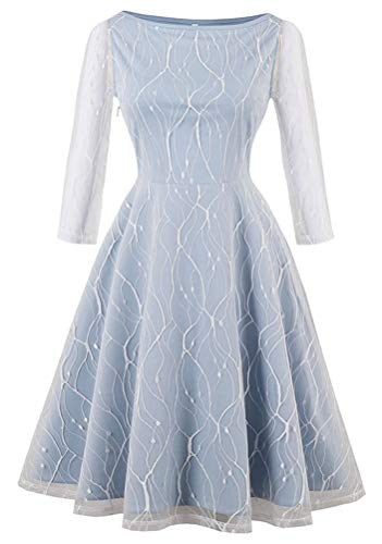 Kimring Women's Vintage 3/4 Length Sleeve Boat Neck Lace Mesh Fit and Flare A-line Swing Cocktail Party Dress Light-Blue X-Large