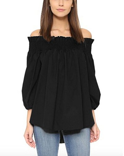 ZANZEA Damen Schulterfrei 3/4 Arm Freizeit Party Strand Lose Tops Shirt Bluse Schwarz XXXL