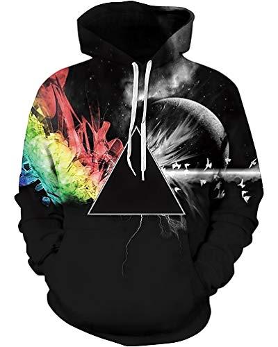 Sankill Unisex Realistic 3d Digital pullover sweatshirt Hoodie Hooded Sweatshirt S-3XL l/xl-black star