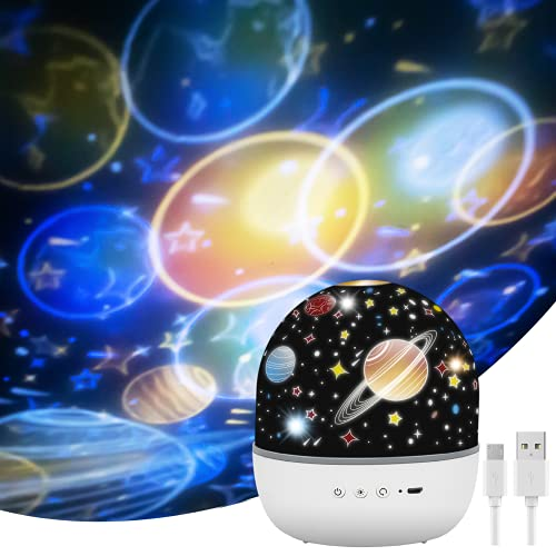 Baby Night Light Projector, 360° Rotating Star Projector with Projection Films Kids Light Projector Lamp 6 Lighting Modes for Bedroom Baby Children Birthday Party Xmas Gifts