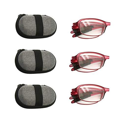 Paquete de 3 pares de gafas de lectura plegables plegables con estuche, 1.0 a +3.5 Hombre Impresora plegable de bolsillo con presbicia Hyperopia
