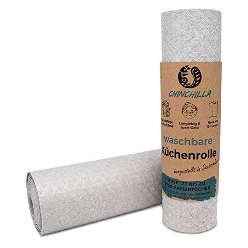 Chinchilla® Waschbare Küchenrolle | 12 Schwammtücher aus Holz Zellulose | made in Germany | Nachhaltige Allzwecktücher im Haushalt | Wiederverwendbare Küchentücher grau | saugstark & reißfest