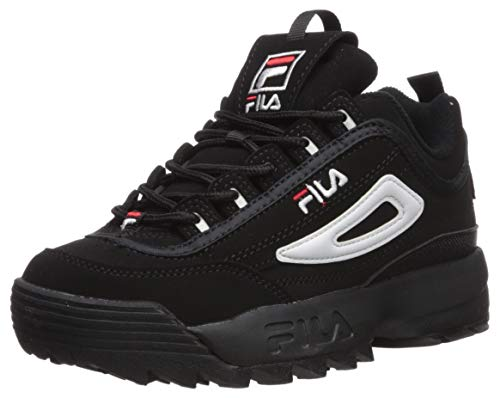 Fila Zapatillas Unisex Child Disruptor III, Color Negro, Blanco y Rojo Vintage, 7 M US Big Kid