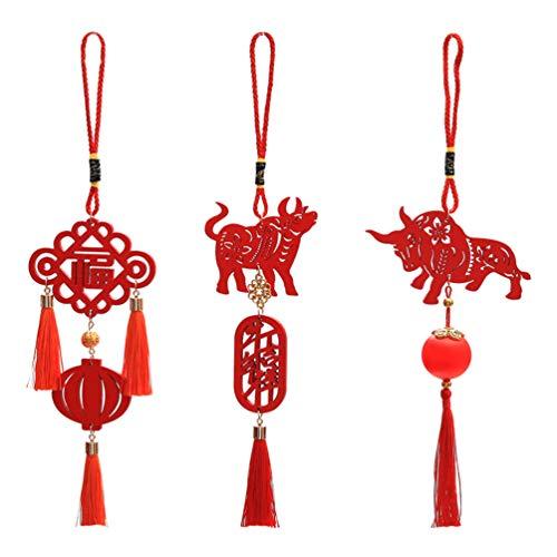 SOIMISS 3Pcs Decoraciones del Año Nuevo Chino 2021 Año del Buey Año Nuevo Chino Colgante Rojo Etiquetas de Madera Adornos Colgantes de La Suerte Colgante de Coche para El Festival de