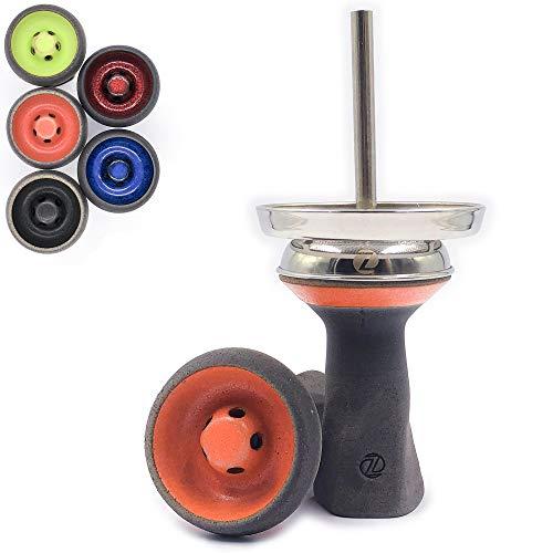 Zanabaq Penta   Cazoleta Cachimba de Piedra   Cabeza Shisha   Tecnología Vortex con chimenea de acero inoxidable   Fabricado a mano en Alemania   Color Coral