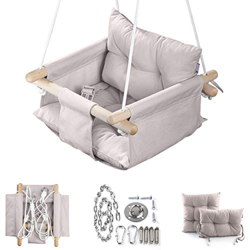 Canvas Baby Swing by Cateam - Cappuccino - Wooden Hanging Swing Seat Chair for Baby with Safety Belt and mounting Hardware. Baby Hammock Chair Birthday Gift.
