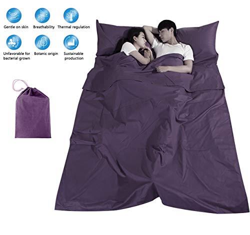 Tapusen Einzelner Doppelschlafsack Liner 100% Baumwolle Schlafsack Leichtes tragbares Bettlaken Schmutzfestes kompaktes Reise-Campinglaken (Doppelt)