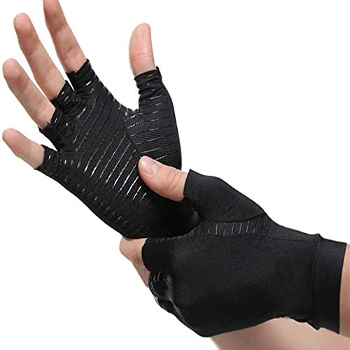 2 Pairs Compression Arthritis Gloves Best Copper Infused Glove for Women and Men Fingerless Compression Gloves Pain Relief and Healing for Arthritis Carpal TunnelL