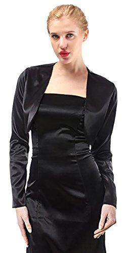 Alivila.Y Fashion Womens Satin Long Sleeve Bolero Shrug Jacket Cardigan A29-Black-S