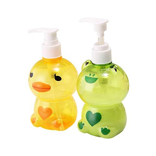Dispensador de botellas Xiuinserty, dispensador de jabón portátil para niños, con forma de rana o pato, dividido, botella vacía, champú, contenedor de ducha de color al azar, 250 ml