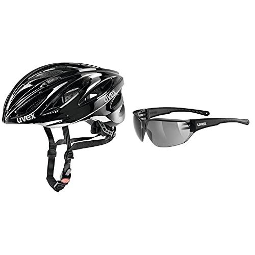 Uvex Unisex– Erwachsene, boss Race Fahrradhelm, Black, 55-60 cm & Unisex– Erwachsene, Sportstyle 204 Sportbrille, Smoke/Smoke, one Size