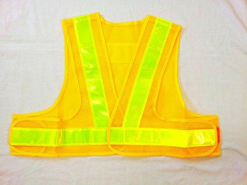 安全ベスト ショートベスト 高輝度反射ベスト 短い安全チョッキ(テープ幅 50mm) 40cm丈 黄色メッシュ地/ライムライン V50-YL-S