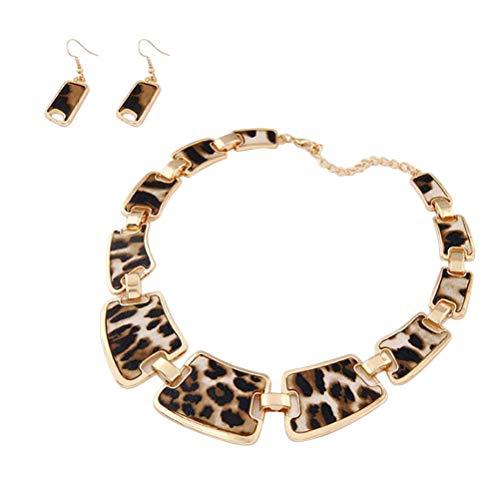 TENDYCOCO 1 Juego de Accesorios de joyería para Mujer, Pendientes de Collar de Metal con Estampado de Leopardo Sexy de Moda