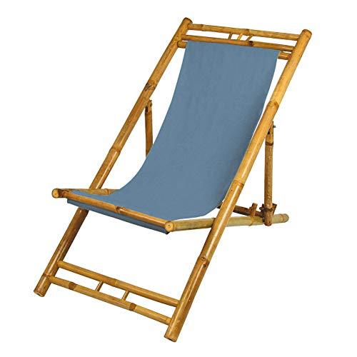 Spetebo Bambus Liegestuhl höhenverstellbar - Farbe: blau - Holz Sonnenliege klappbar Strandliege