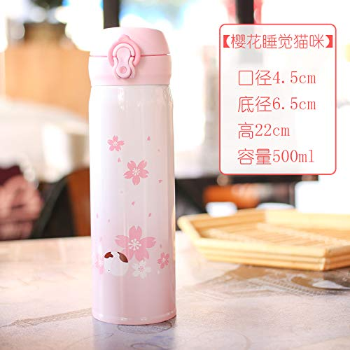 Cartoon Isolatie Cup draagbare 304 roestvrij staal Hot Water Cup fles rechte drank (500ml) Cherry Blossom 2